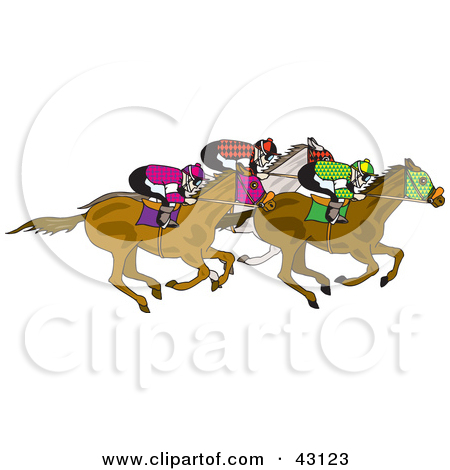 Clipart Illustration of a Group Of Jockeys Racing On Their Horses.