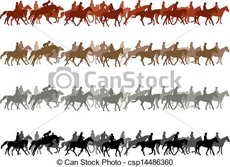 Clip Art Vector of Horse riders.