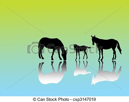 EPS Vectors of horse group.