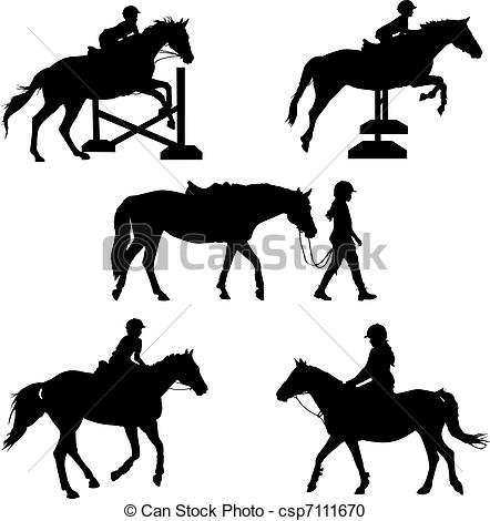 Vector Clipart of Horse Silhouettes.