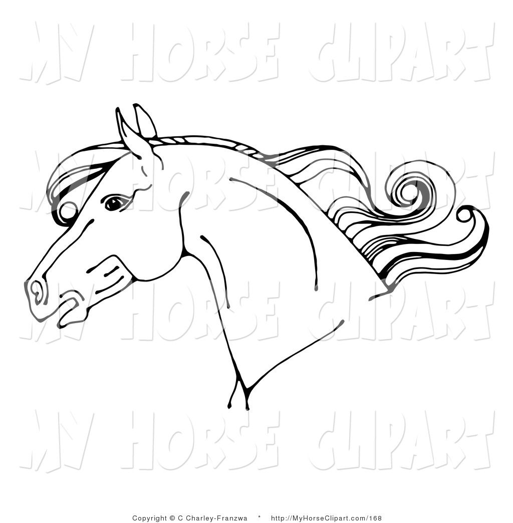 Clip Art of a Black and White Horse Head in Profile Facing Left.