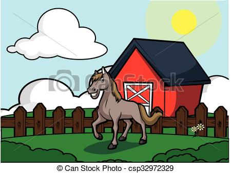Vector Illustration of Horse with barn house scenery .eps 10.