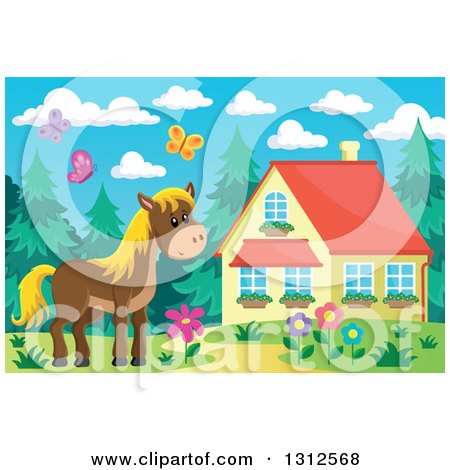 Clipart Of A Brown Horse Barn Flowers And Butterflies By House