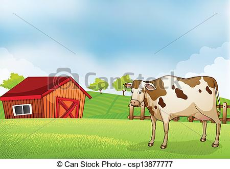 Vector of A horse in the farm with a wooden house.