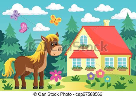 Clip Art Vector of Horse in garden near house.