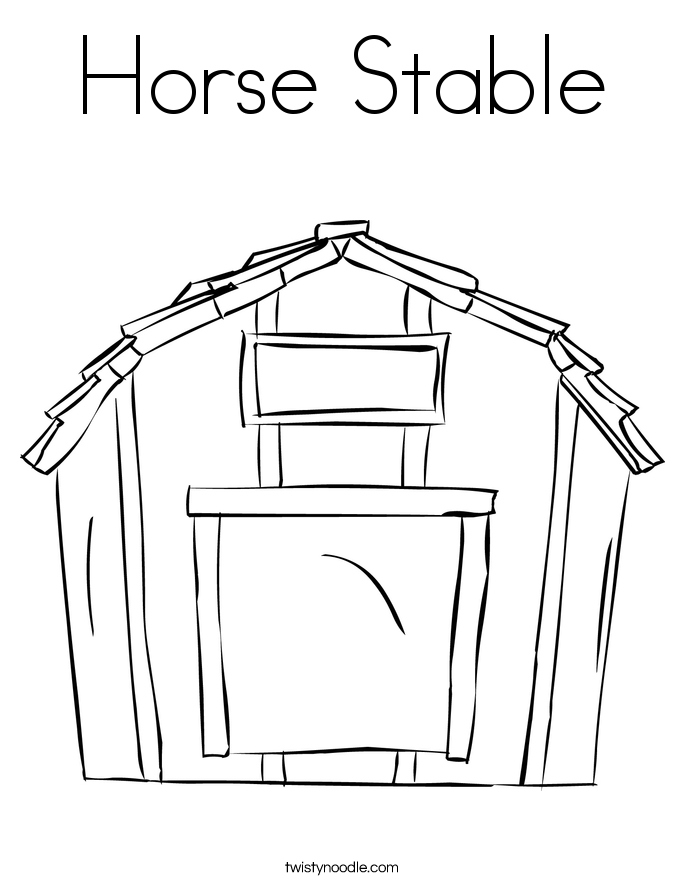 Horse Stable Coloring Page