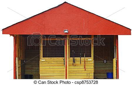 Pictures of A newly built red two stall horse barn isolated on.