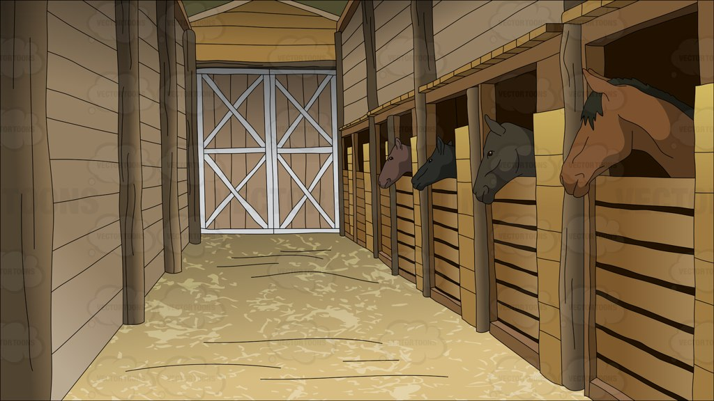 Horse Stables Background Cartoon Clipart.