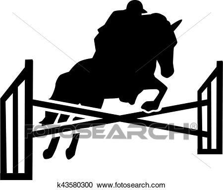 Horse jumping over obstacles with rider Clipart.