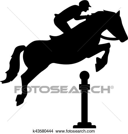 Horse jumping over obstacles Clipart.