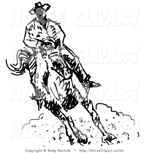 Clip Art of a Roper Cowboy on a Horse, Kicking up Clouds of Dust.