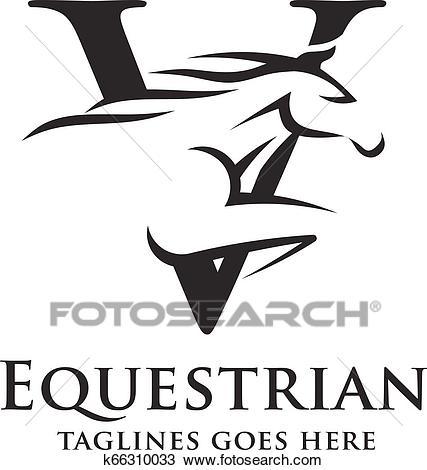 Letter V with horse logo Clipart.