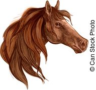 Vector Clip Art of Horse with long mane.