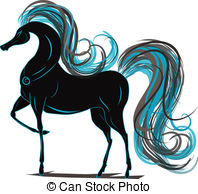 Vector Illustration of Galloping horse with a gold mane.