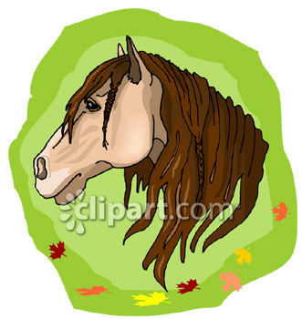 Horse In Profile with Tan Hide and Dark Mane.