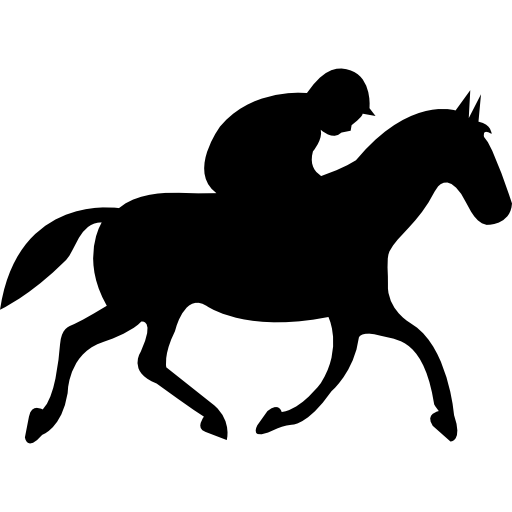 Running horse with jockey black silhouette from side view.