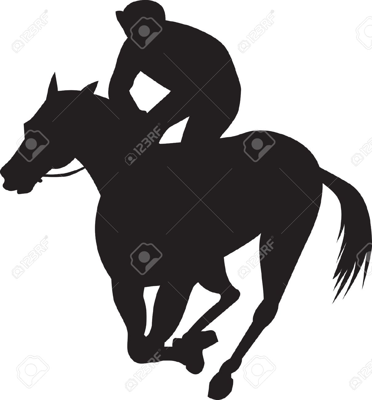 Horse And Jockey Silhouette Clipart.