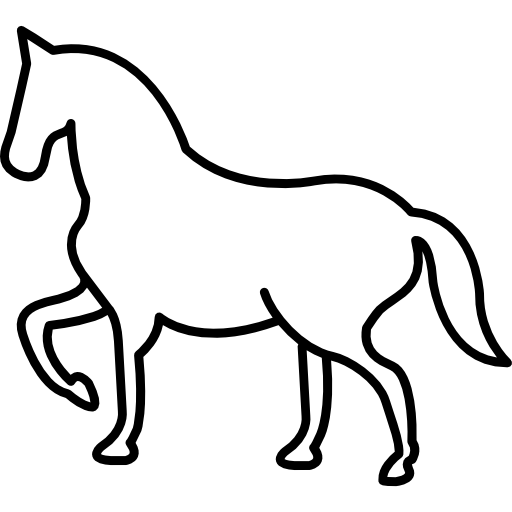 Walking horse outline with one frontal paw lifted Icons.