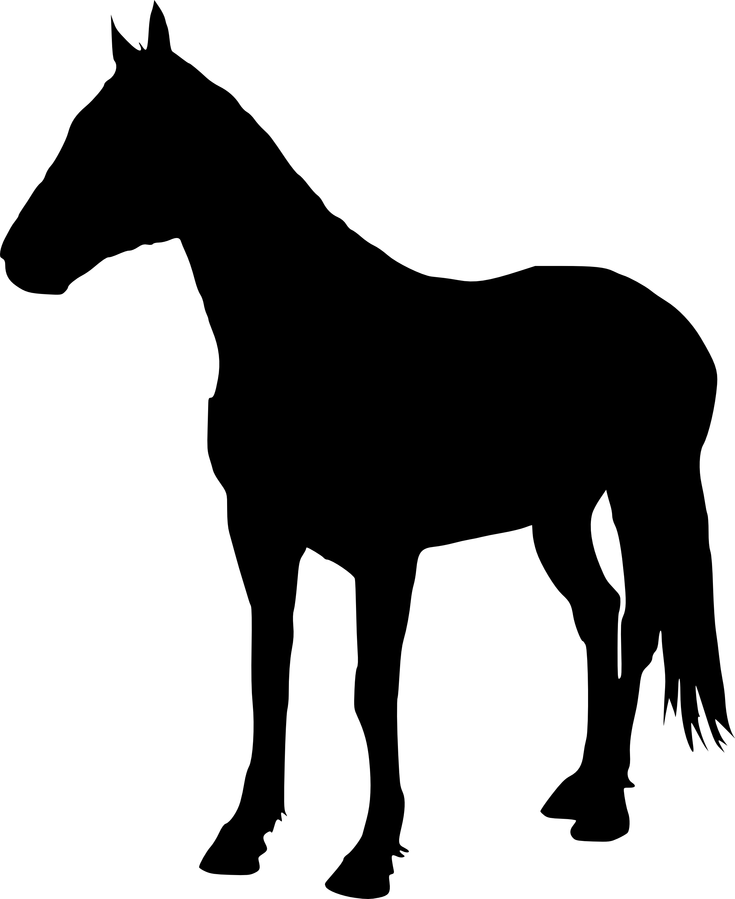 5 Horse Silhouette (PNG Transparent).