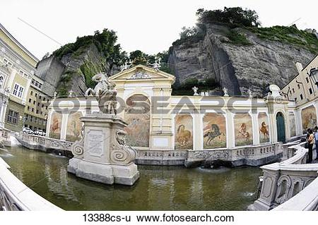Stock Images of Austria, Salzburg, View of horse pond in Herbert.