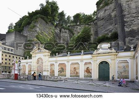 Stock Images of Austria, Salzburg, View of horse pond, Herbert.