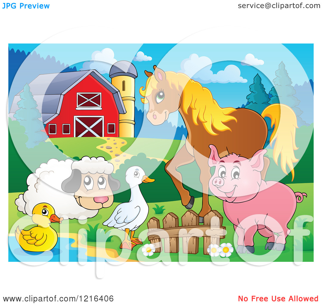 Clipart of a Happy Duck Goose Sheep Pig and Horse by a Pond in a.