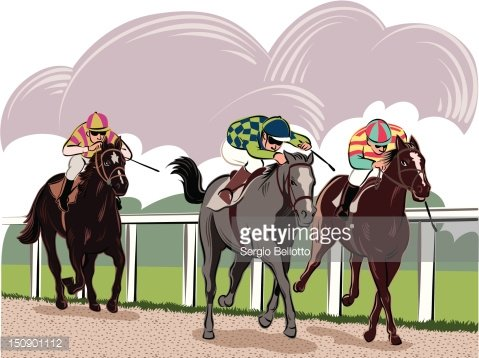 Horse racing at the racetrack Clipart Image.