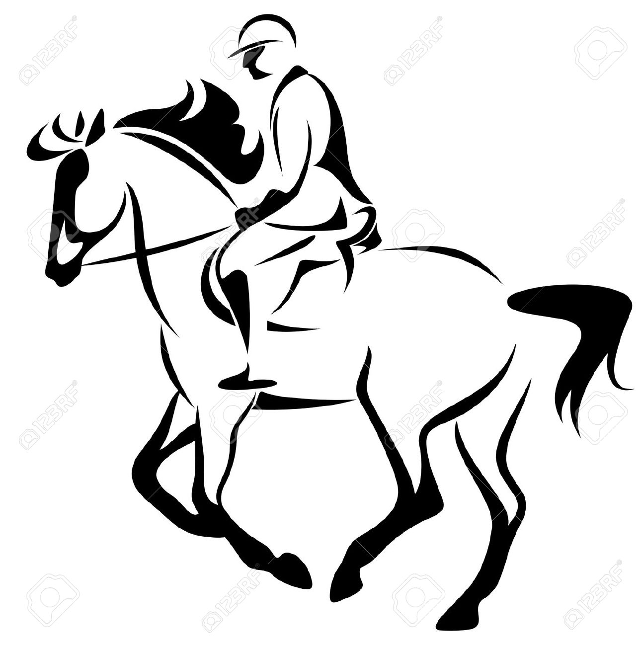 Horse riding clipart #19