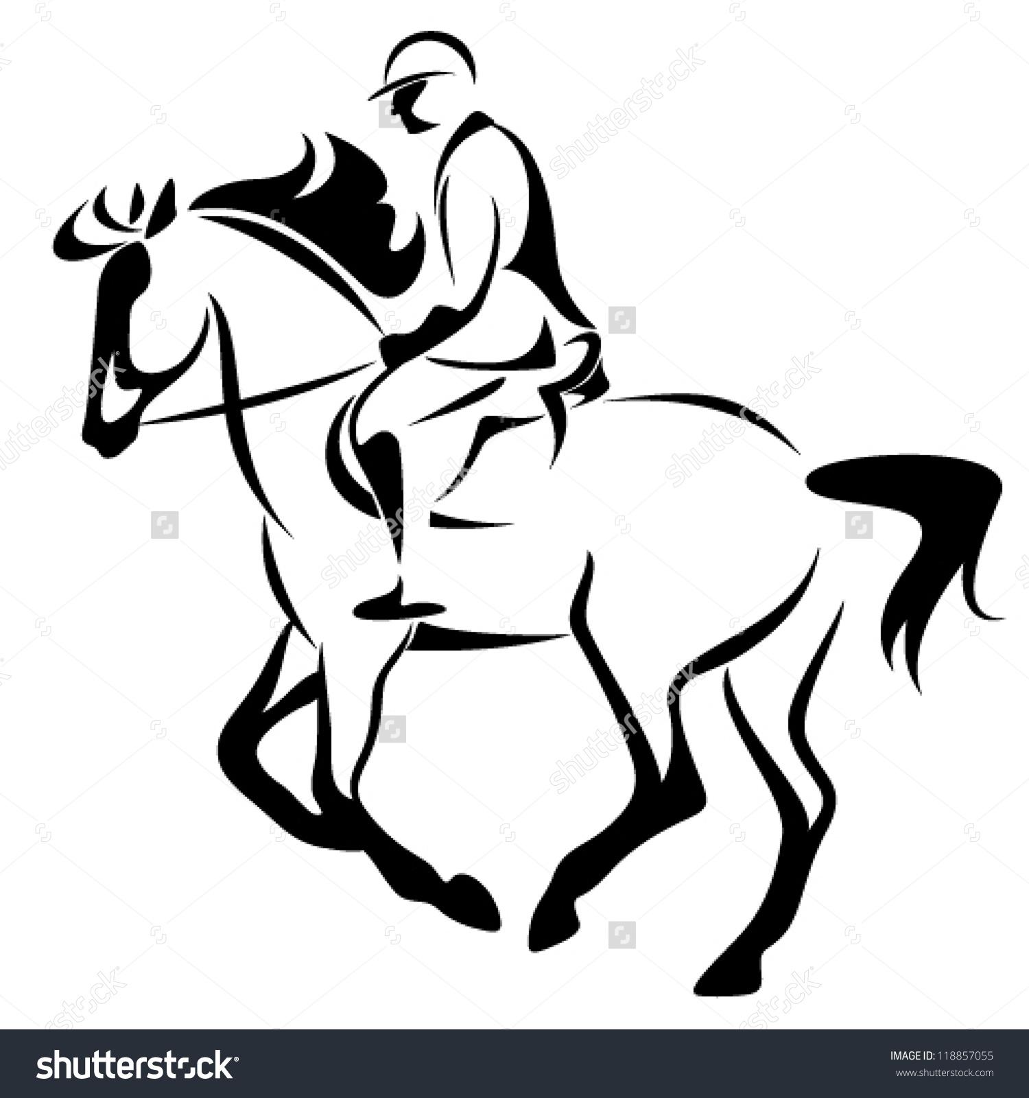 Equestrian Emblem Horse Riding Vector Illustration Stock Vector.