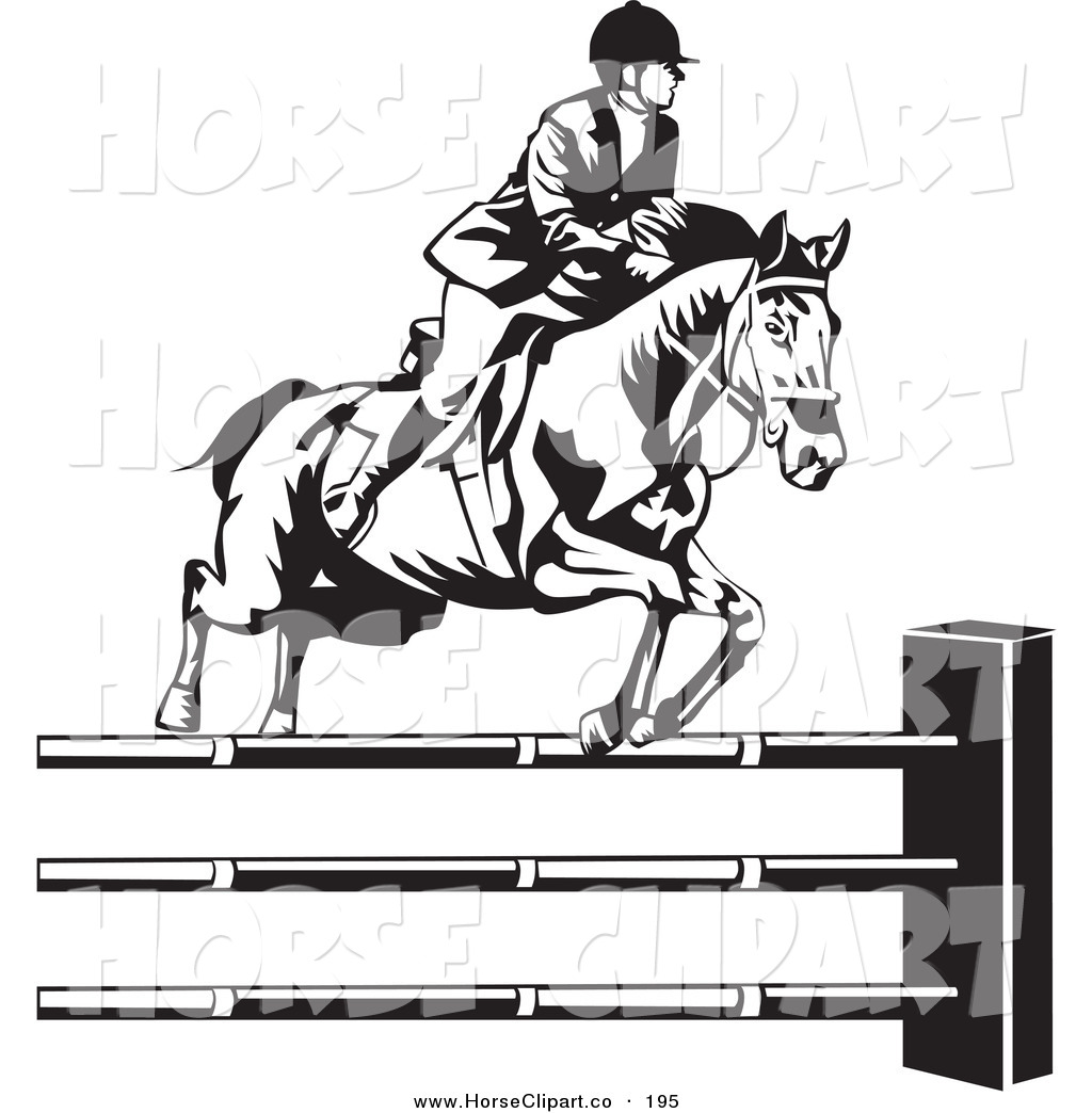 Clip Art of a Black and White Riding Jockey Leading a Horse to.