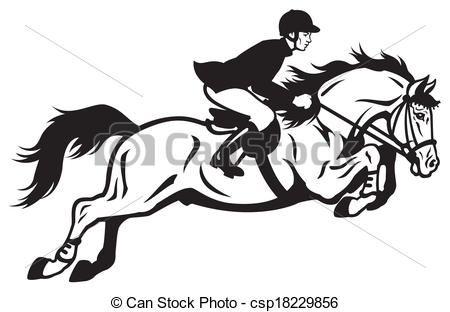 Clipart Vector of horse rider equestrian jumping, black and white.