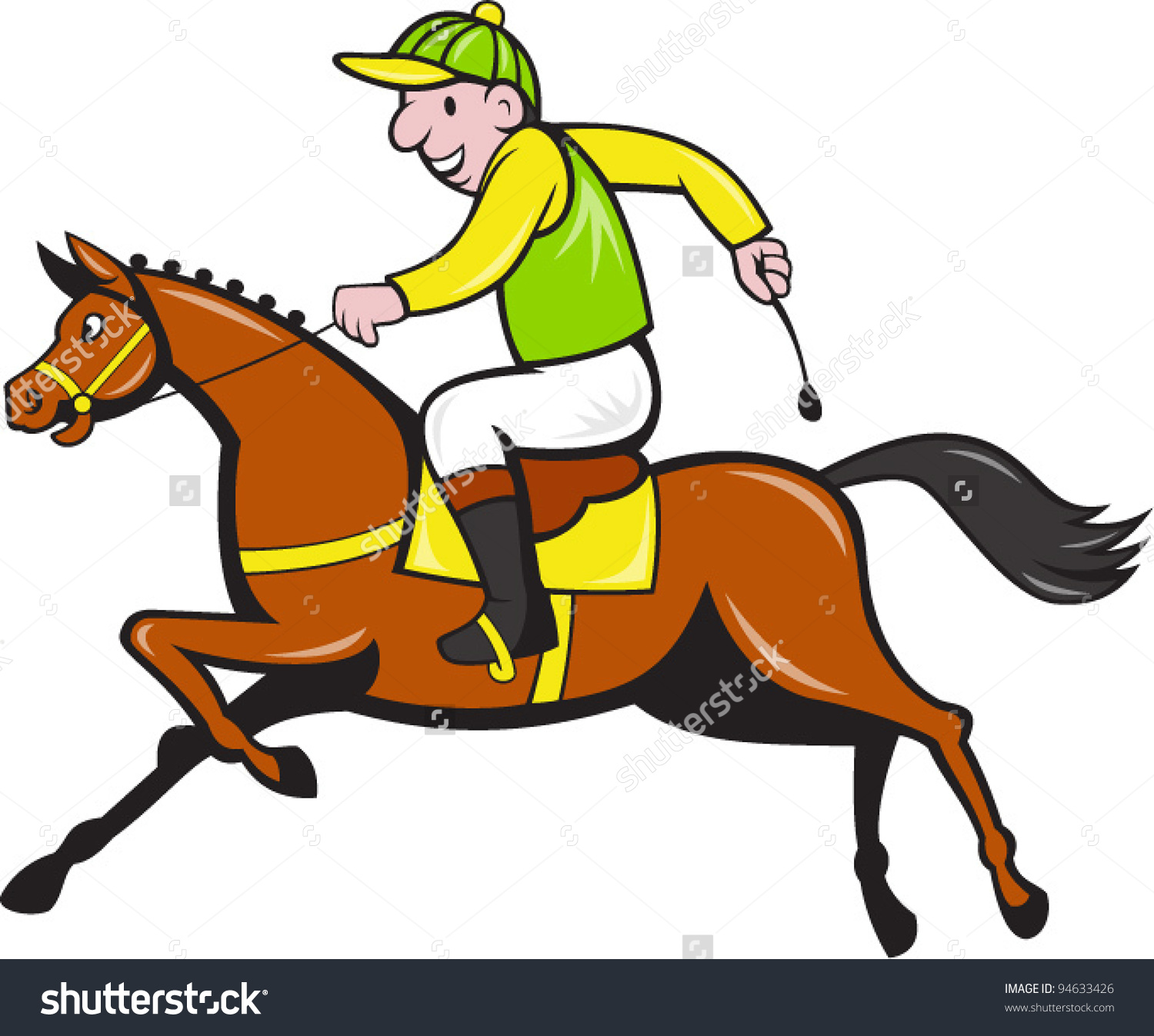 Vector Illustration Cartoon Horse Equestrian Jockey Stock Vector.