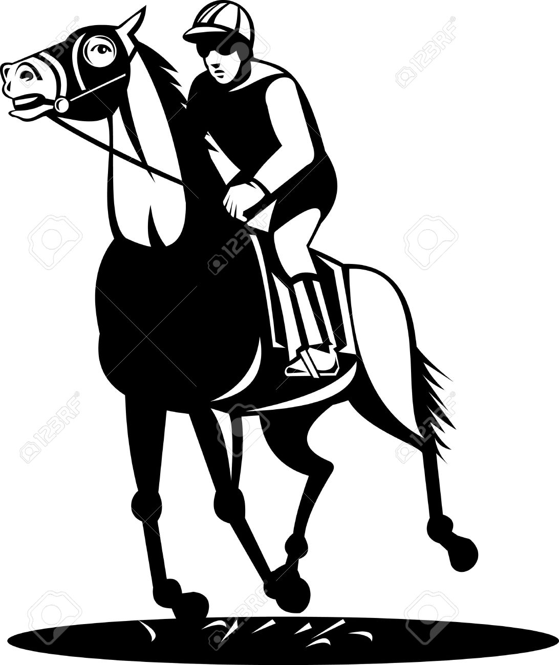 Horse And Jockey On A Winning Run Royalty Free Cliparts, Vectors.