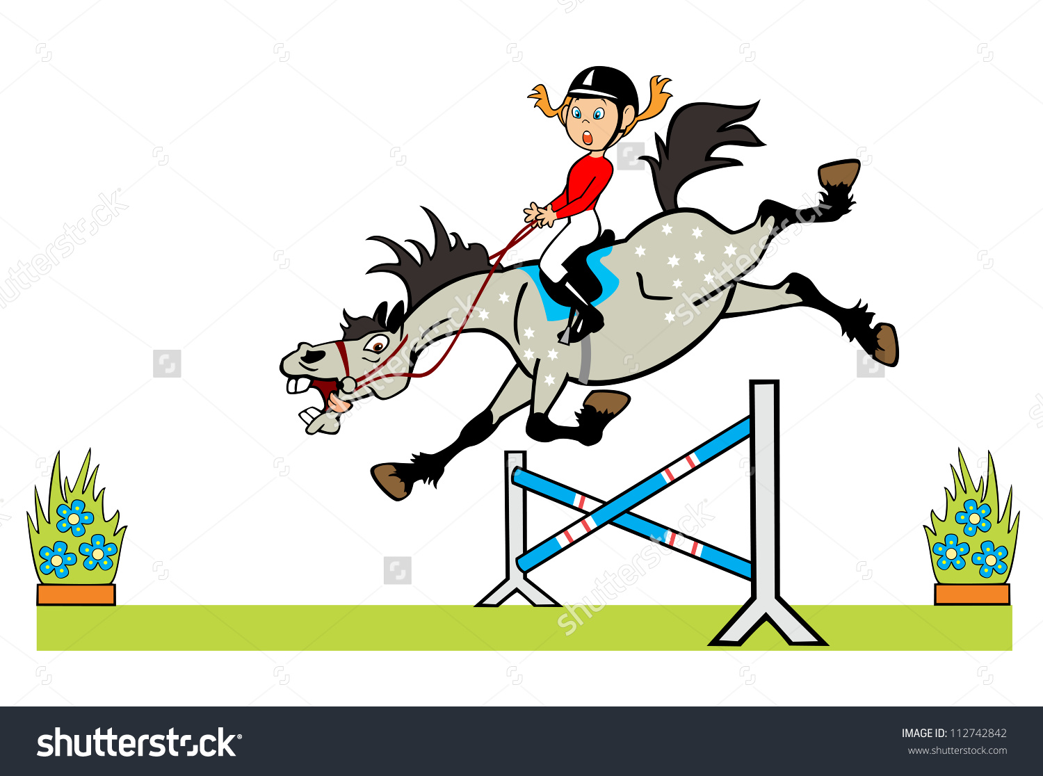 Horse Ridergirl Pony Jumping Hurdlevector Cartoon Stock Vector.