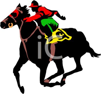 Picture of a Jockey Riding a Horse In a Race In a Vector Clip Art.