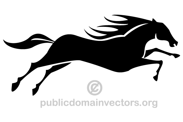 Running Horse Silhouette Vector Image.