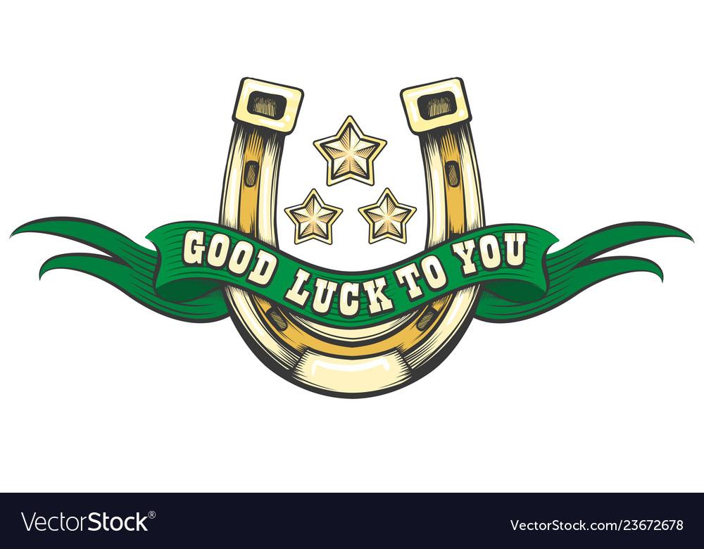 Good luck horse shoe emblem.