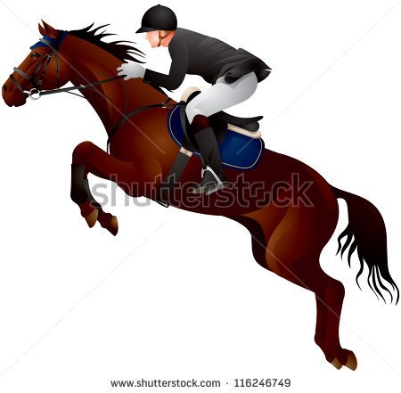 Jumping Horse At A Show Royalty Free Clipart Picture.