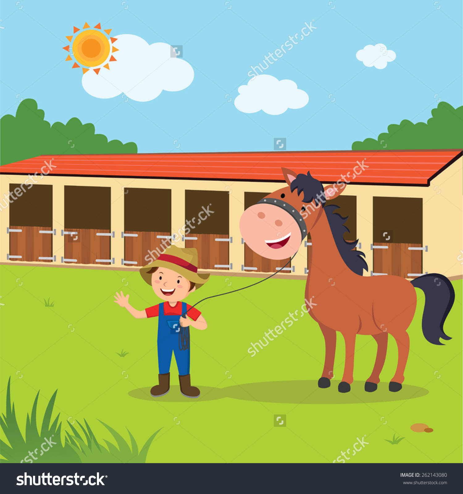 Horse Ranch Coach Man Horse Stable Stock Vector 262143080.