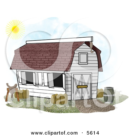 White Horse Stable Barn With a Barrel, Saddle and Hay Clipart.