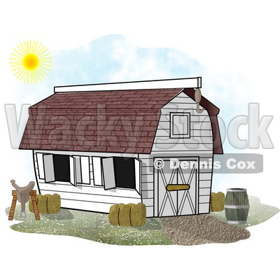 Horse Stable Barn With a Barrel, Saddle and Hay Clipart.