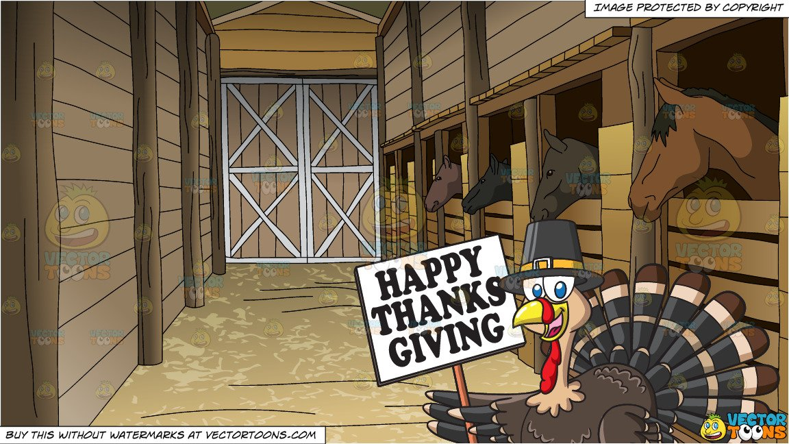 A Turkey Holding A Thanksgiving Sign and Horse Stables Background.