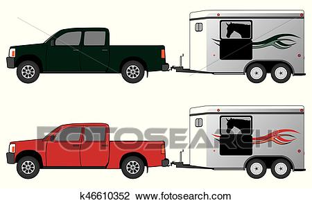 Horse Trailer With Pickup Clipart.