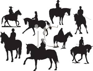 Silhouette of People Training Horses.