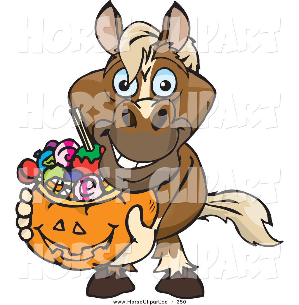 Clip Art of a Trick or Treating Smiling Horse Holding a Pumpkin.