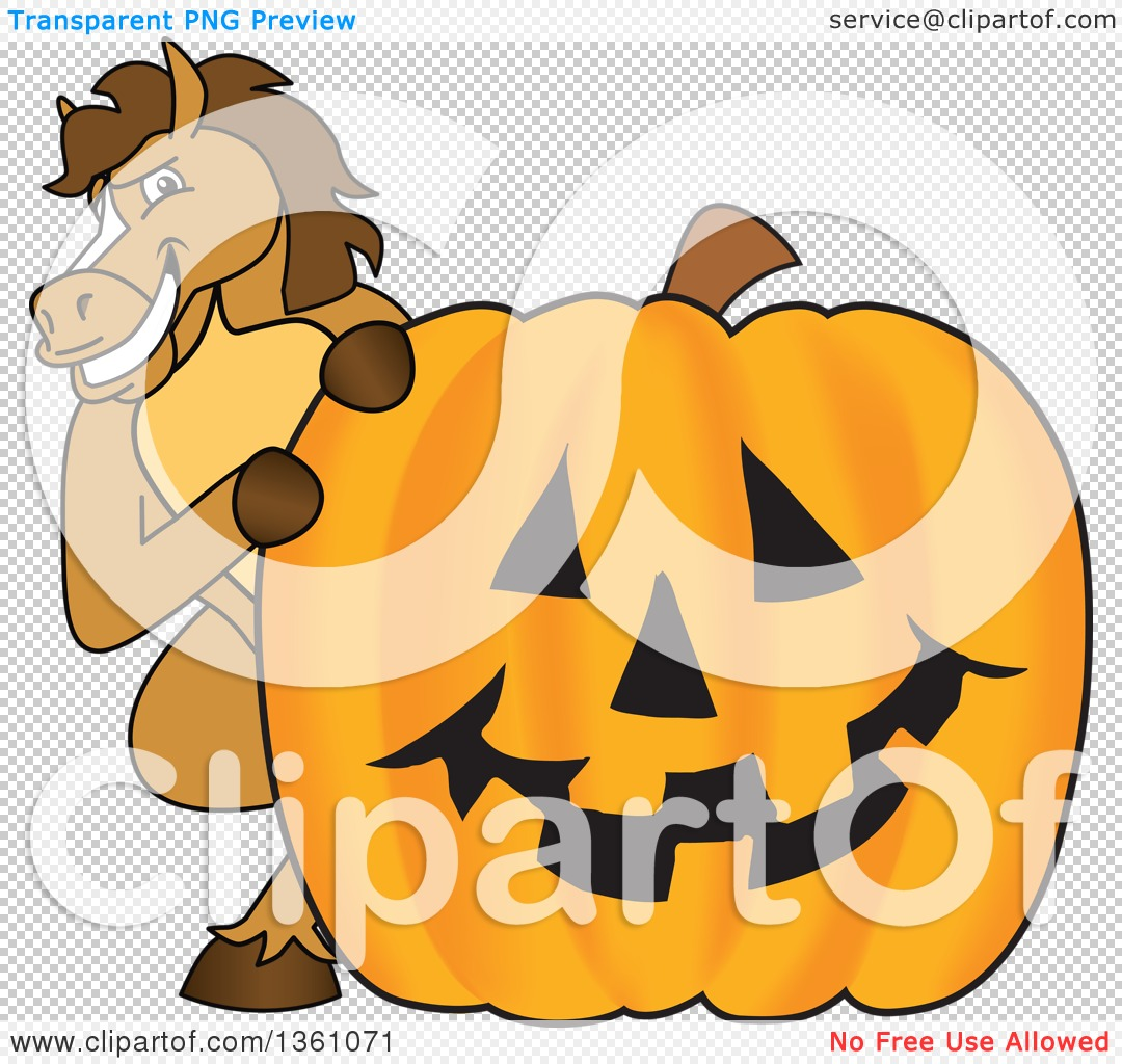 Clipart of a Horse Colt Bronco Stallion or Mustang School Mascot.