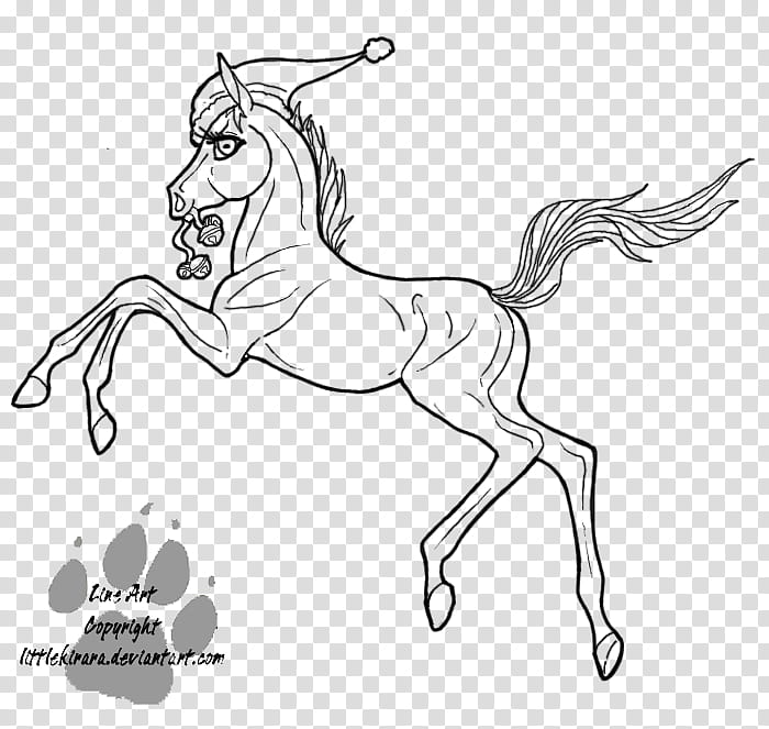 Christmas Filly Line Art, black horse with Santa hat sketch.