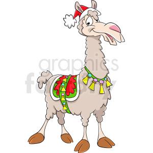 cartoon llama wearing santa hat clipart. Royalty.
