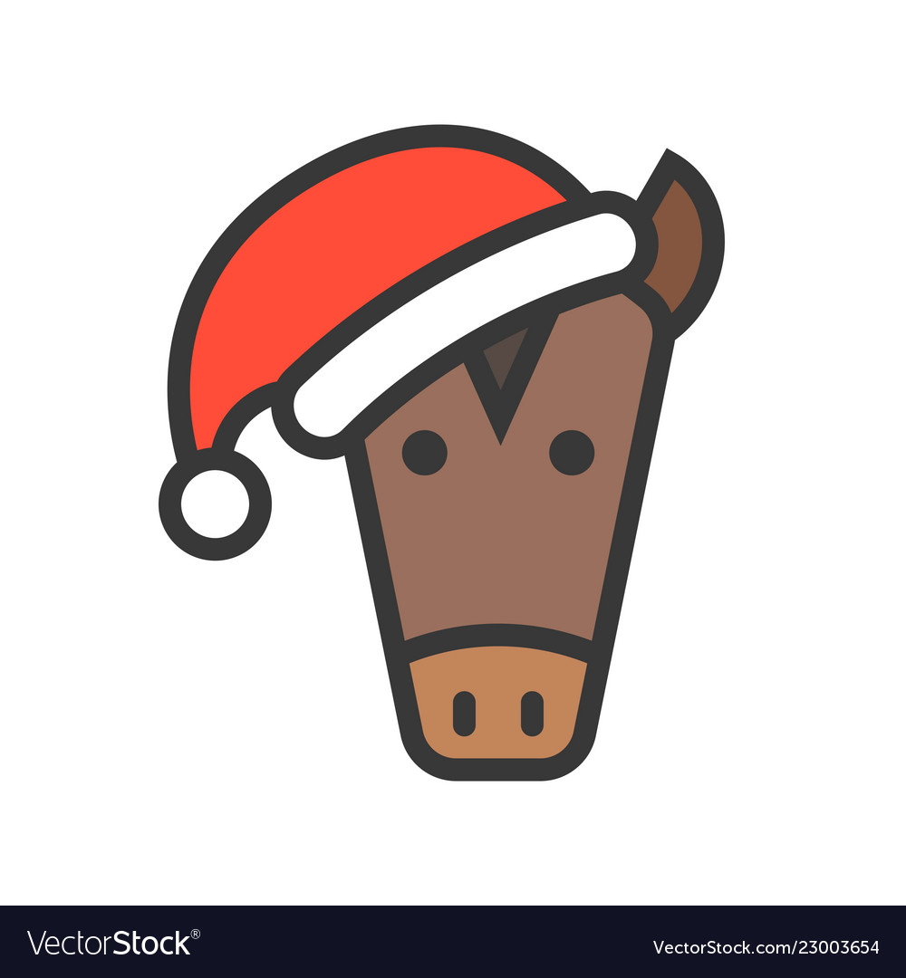 Horse face with santa hat filled style icon.