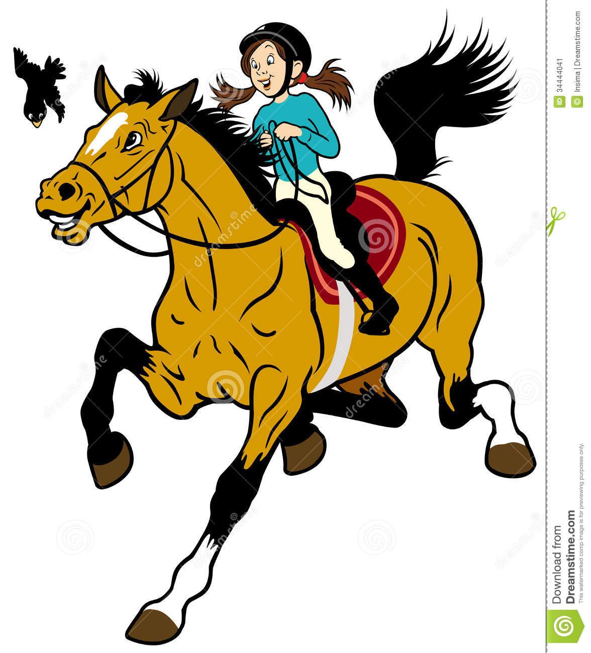 Woman Horseback Riding Clipart.